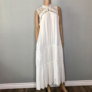 White pocketed crochet lace maxi dress